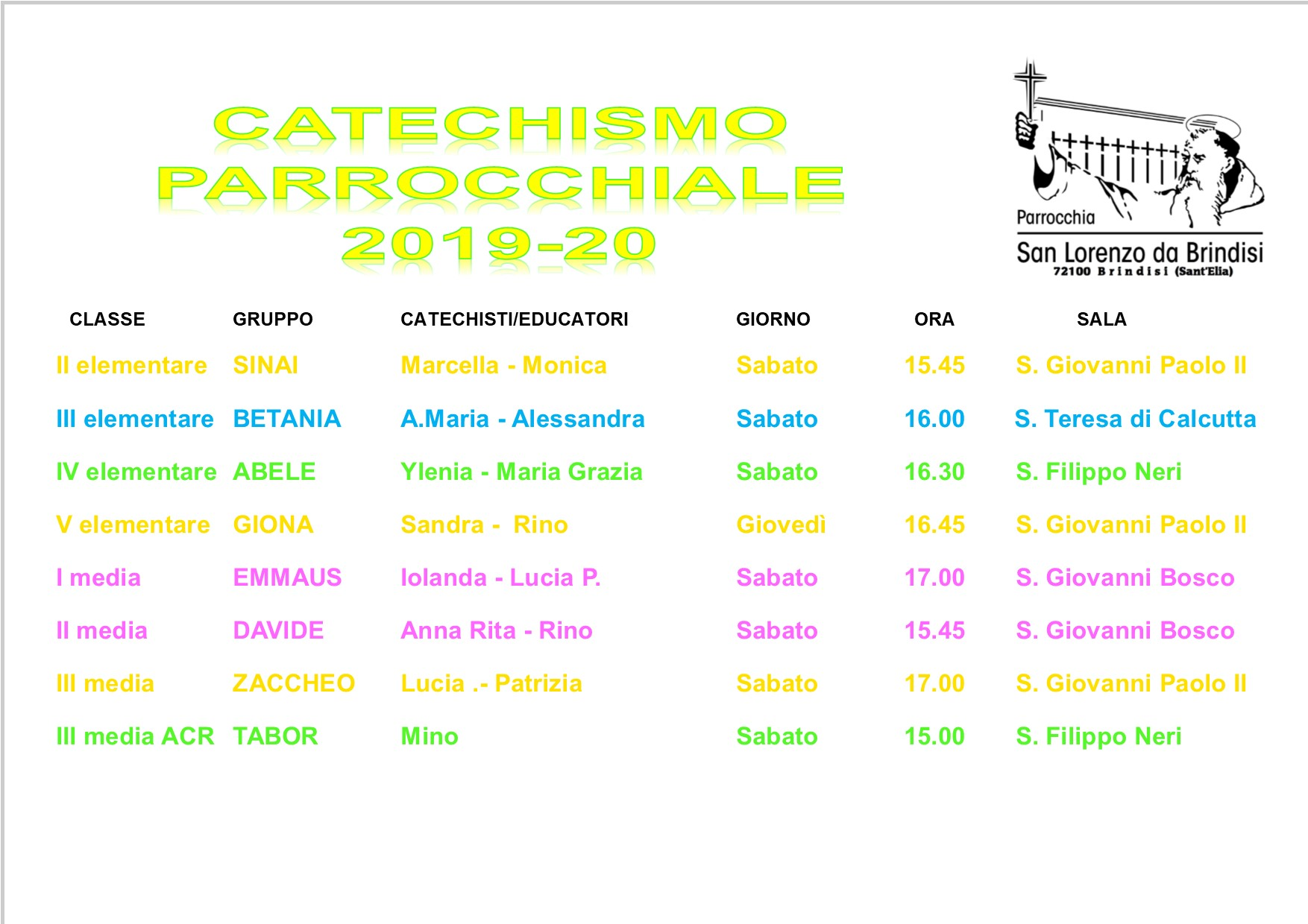 turni catechismo